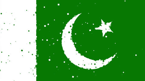 celebratory animated background of flag of Pakistan appear from fireworks Animation