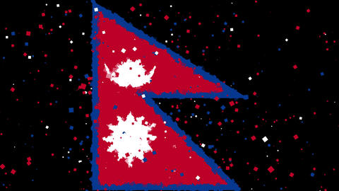 celebratory animated background of flag of Nepal appear from fireworks Animation