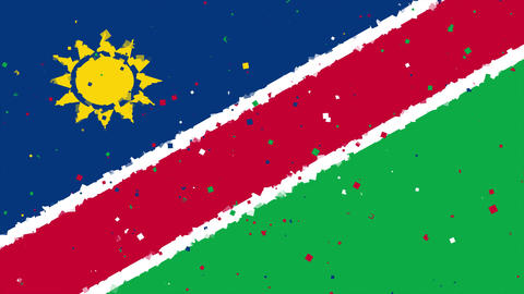celebratory animated background of flag of Namibia appear from fireworks Animation