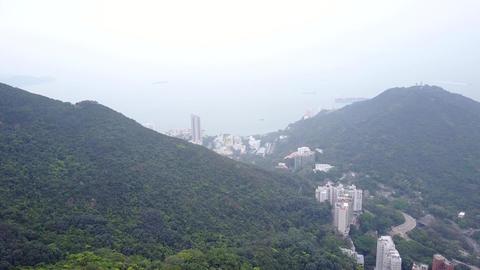 Mount Davis aerial view from Victoria Peak, northwestern of Hong Kong Island Footage