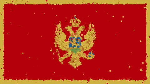 celebratory animated background of flag of Montenegro appear from fireworks Animation