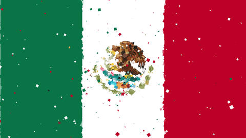 celebratory animated background of flag of Mexico appear from fireworks Animation