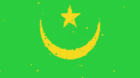 celebratory animated background of flag of Mauritania appear from fireworks Animation