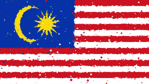 celebratory animated background of flag of Malaysia appear from fireworks Animation