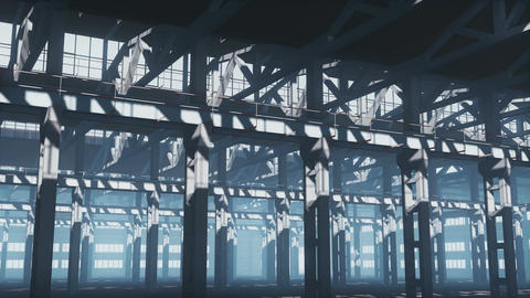 Empty industrial building with iron framework Footage