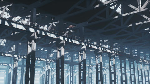 Empty factory or warehouse building interior Animación