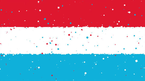 celebratory animated background of flag of Luxembourg appear from fireworks Animation