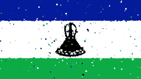 celebratory animated background of flag of Lesotho appear from fireworks Animation
