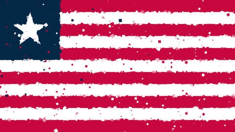 celebratory animated background of flag of Liberia appear from fireworks Animation