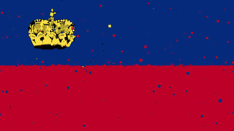 celebratory animated background of flag of Liechtenstein appear from fireworks Animation