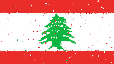 celebratory animated background of flag of Lebanon appear from fireworks Animation