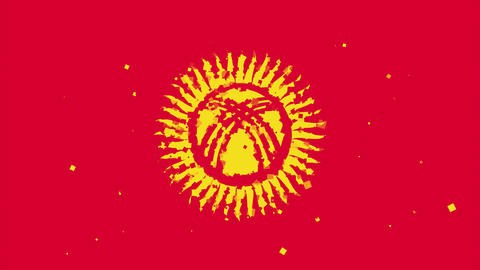 celebratory animated background of flag of Kyrgyzstan appear from fireworks Animation