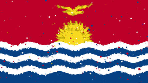celebratory animated background of flag of Kiribati appear from fireworks Animation