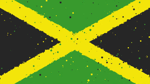 celebratory animated background of flag of Jamaica appear from fireworks Animation