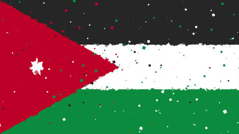 celebratory animated background of flag of Jordan appear from fireworks Animation