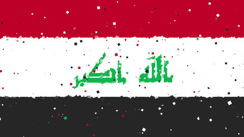 celebratory animated background of flag of Iraq appear from fireworks Animation