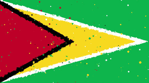 celebratory animated background of flag of Guyana appear from fireworks Animation