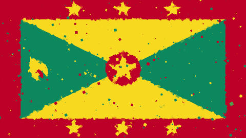 celebratory animated background of flag of Grenada appear from fireworks Animation