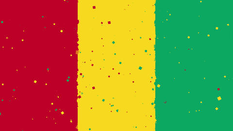 celebratory animated background of flag of Guinea appear from fireworks Animation