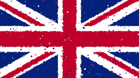 celebratory animated background of flag of Great Britain appear from fireworks Animation