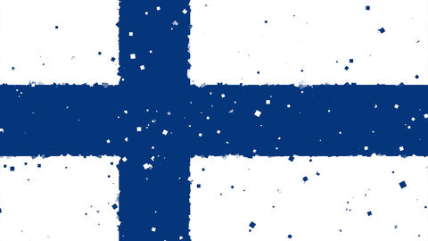 celebratory animated background of flag of Finland appear from fireworks Animation