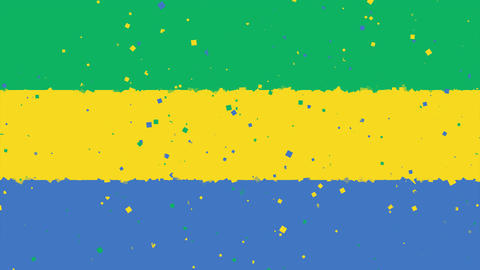 celebratory animated background of flag of Gabon appear from fireworks Animation