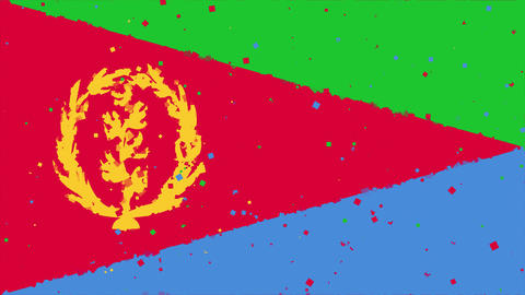 celebratory animated background of flag of Eritrea appear from fireworks Animation