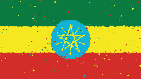 celebratory animated background of flag of Ethiopia appear from fireworks Animation
