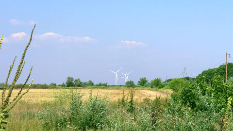 Three windmills in the distance Footage