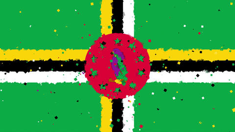 celebratory animated background of flag of Dominica appear from fireworks Animation