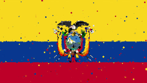 celebratory animated background of flag of Ecuador appear from fireworks Animation