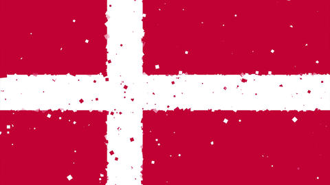 celebratory animated background of flag of Denmark appear from fireworks Animation