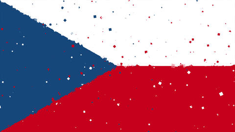 celebratory animated background of flag of Czech Republic appear from fireworks Animation