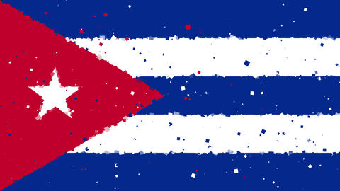 celebratory animated background of flag of Cuba appear from fireworks Animation