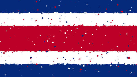 celebratory animated background of flag of Costa Rica appear from fireworks Animation