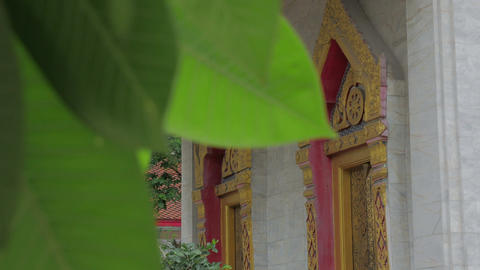 An ubosot in buddhist temple in thailand Live Action