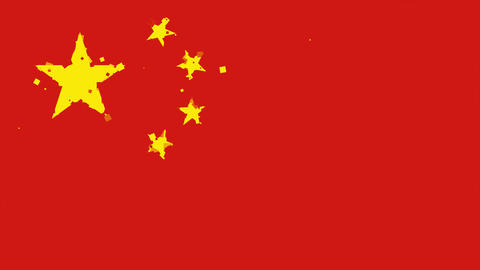 celebratory animated background of flag of China appear from fireworks Animation