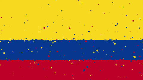 celebratory animated background of flag of Colombia appear from fireworks Animation