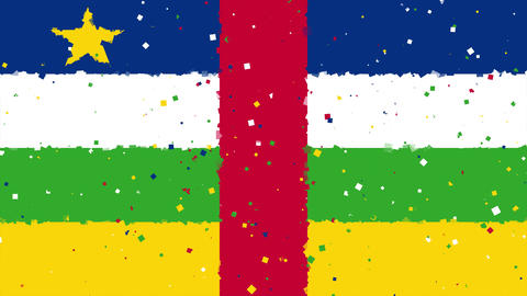celebratory animated background of flag of Central African Republic appear from Animation