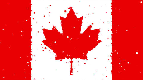 celebratory animated background of flag of Canada appear from fireworks Animation