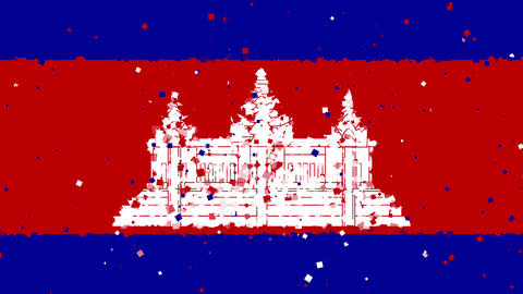 celebratory animated background of flag of Cambodia appear from fireworks Animation