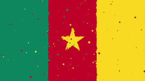 celebratory animated background of flag of Cameroon appear from fireworks Animation