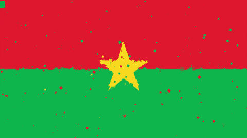 celebratory animated background of flag of Burkina Faso appear from fireworks Animation