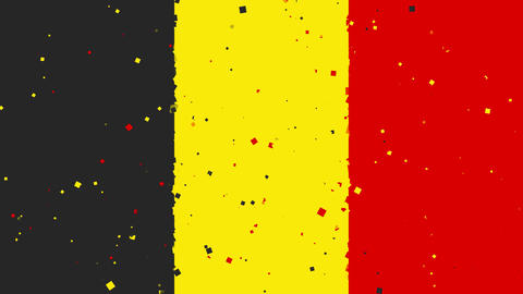 celebratory animated background of flag of Belgium appear from fireworks Animation