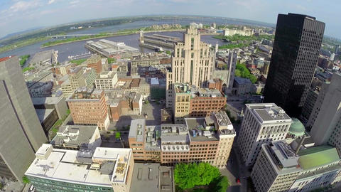 centru 8 MAerial view of Montreal down town, Old Port, and Saint Lawrence River Footage