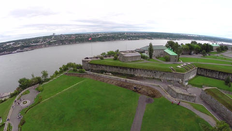Aerial View Of Citadelle In Quebec City On Saint Lawrence River Shore, Canada stock footage