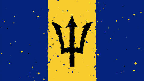 celebratory animated background of flag of Barbados appear from fireworks Animation