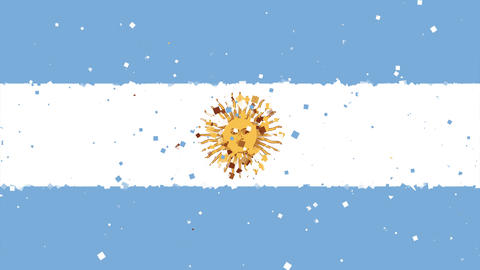 celebratory animated background of flag of Argentina appear from fireworks Animation