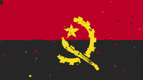 celebratory animated background of flag of Angola appear from fireworks Animación