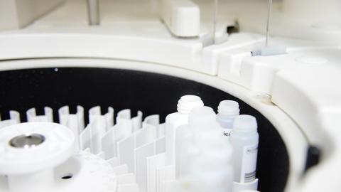 Automate chemistry analyzer in white laboratory Footage